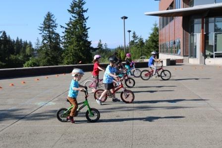 Kids biking in line